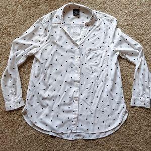 Polka dot button down shirt
